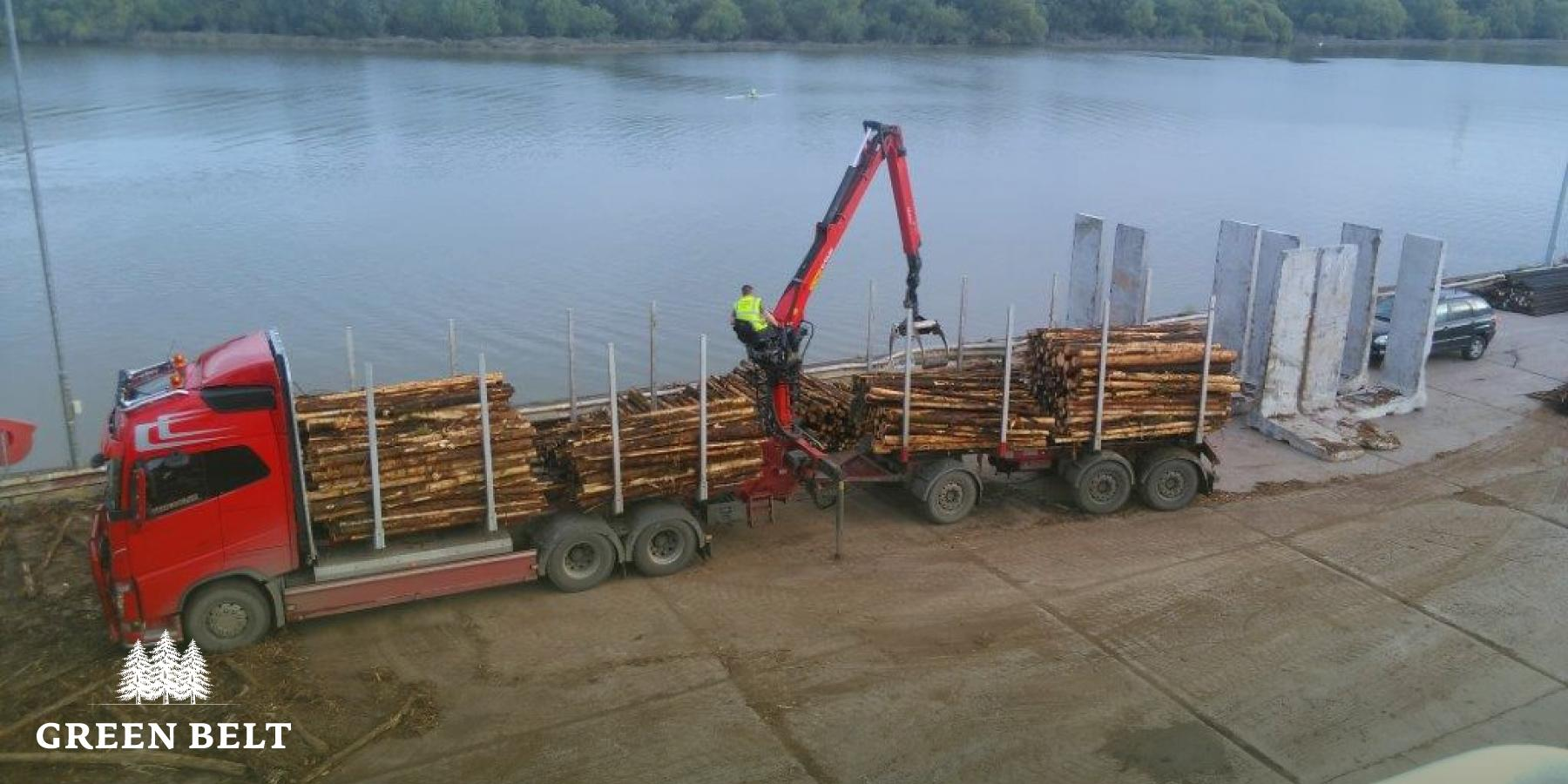 Offloading timber at the port.